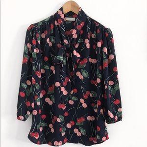 Cherry Top Blouse Shirt Size M